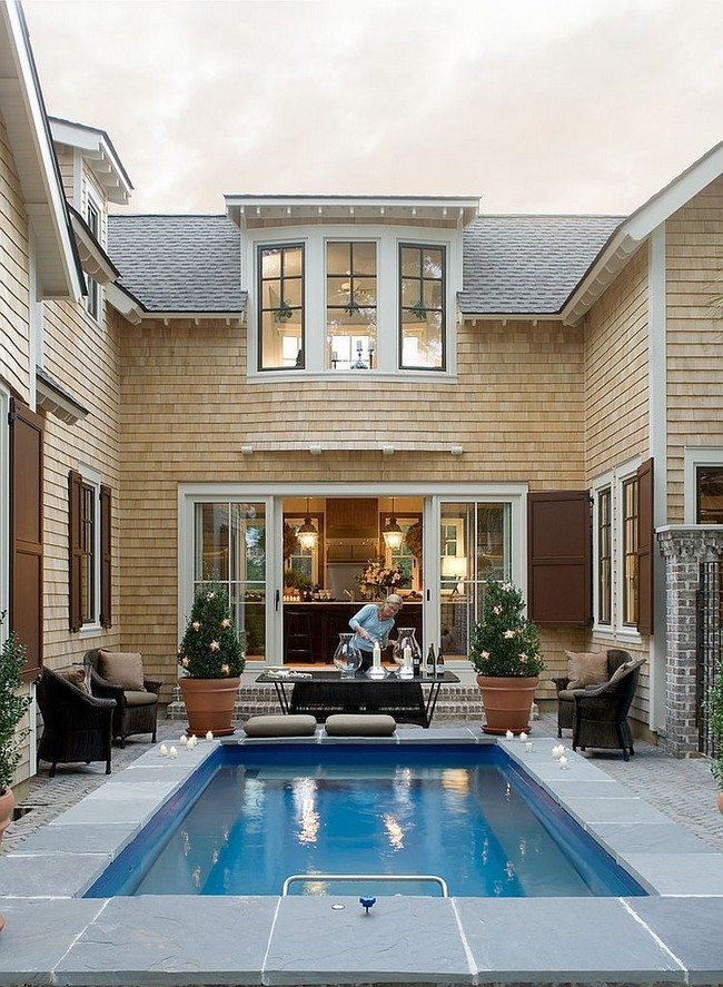 Gorgeous pool is 8 feet by 16 feet and fits in with the appeal of the courtyard [Design: Allison Ramsey Architects]