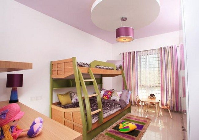 Lovely girls' bedroom with a colorful bunk bed