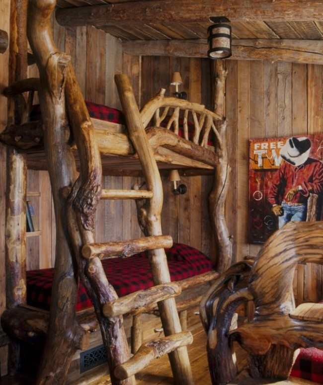 Rustic cabin-styled bedroom with innovative bunk bed