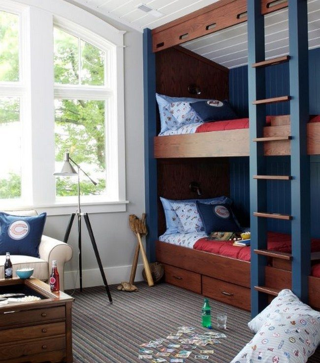 Sports themed kids' bedroom with bunk beds and built-in storage