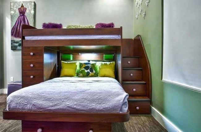 Twin bed over full bunk bed with stairs that double as drawers
