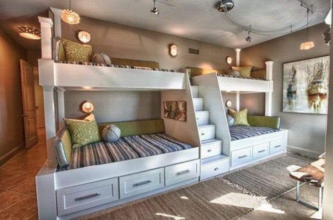 Custom bunk beds with in-built storage and staircase