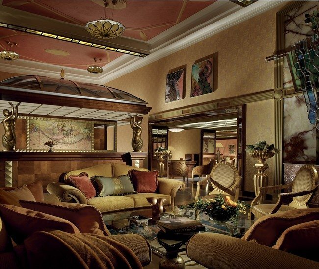 Ceiling Beams In Art Deco Living Room