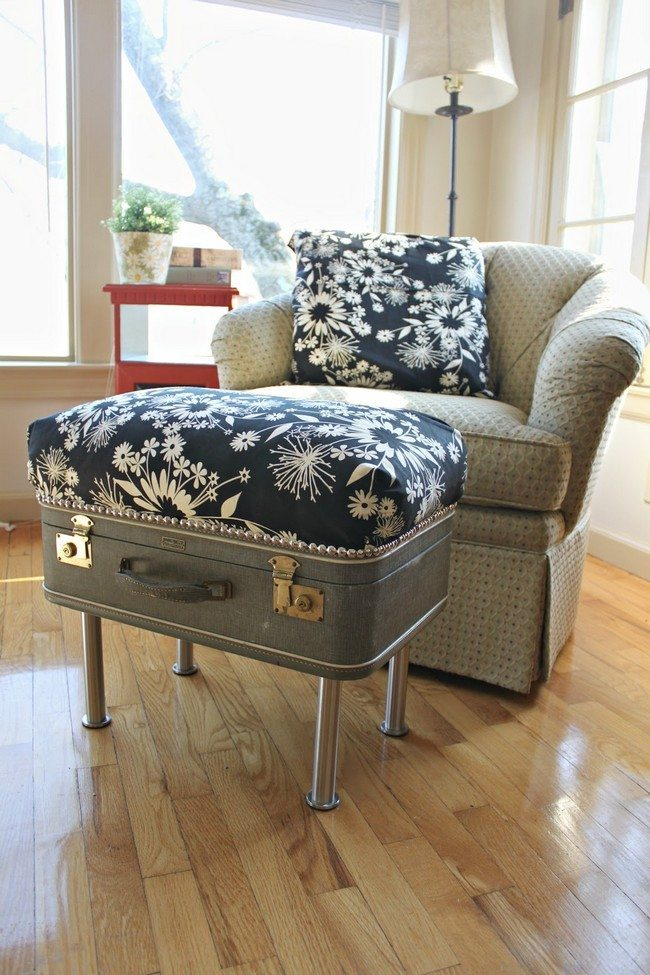 Old suitcase repurposed into an ottoman