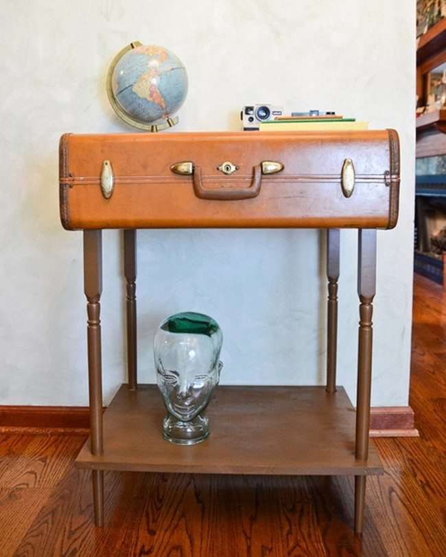 Wooden storage stand made from an old wooden suitcase