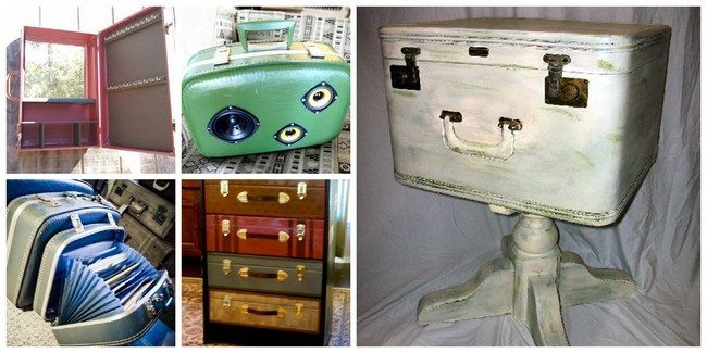 Miscellaneous ideas for repurposing old suitcases