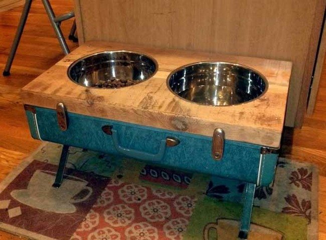 Old suitcase repurposed into food stands
