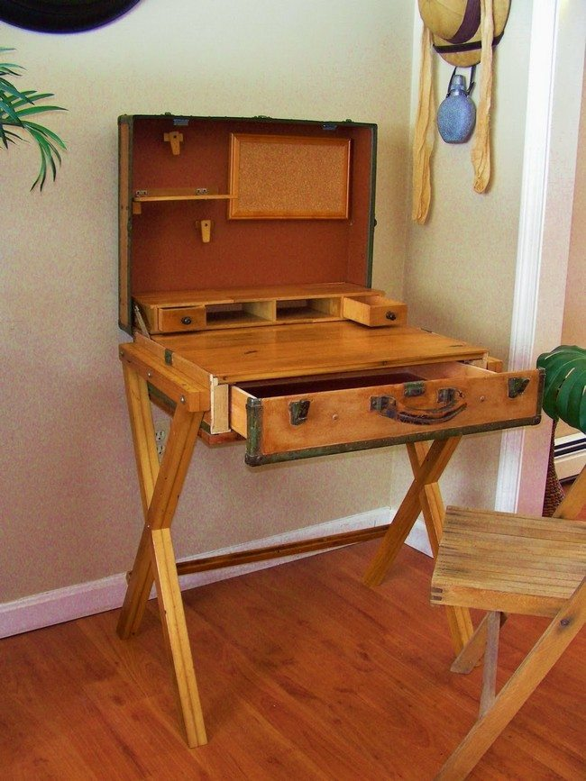 Old Suitcases Part - 45: Old Wooden Suitcase Repurposed Into A Desk, With A Drawer For Storage