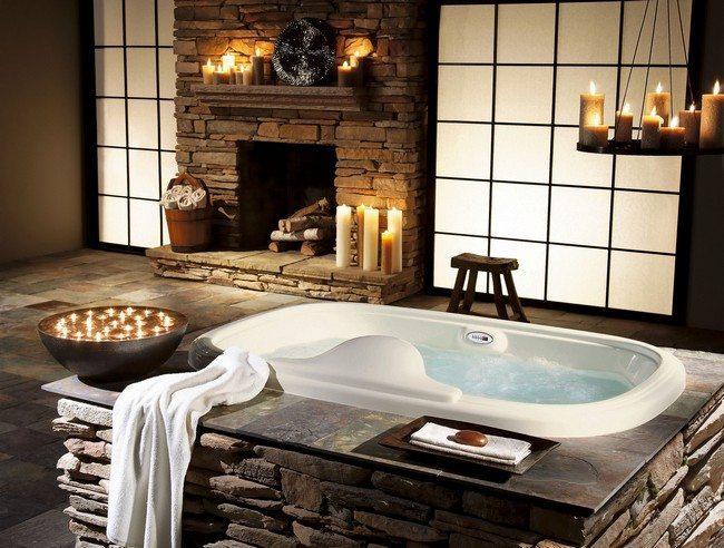Ceramic bathtub encased in stone
