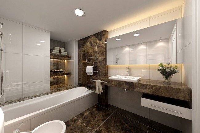 Elegant stone shelves with towels