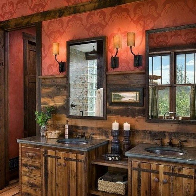 unique rustic bathroom vanities. Large vanity set divided by shelves in the middle Unique Bathroom Vanities  Elevate Your With These Vanity