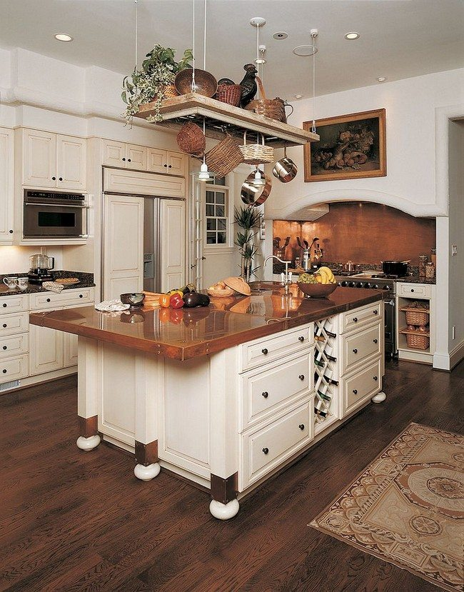 Wooden island with white casters and integrated wine storage area