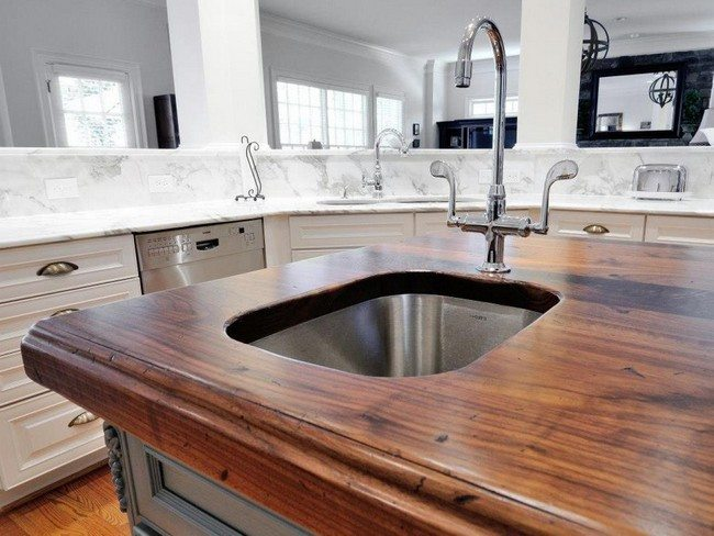 Wooden slab countertop