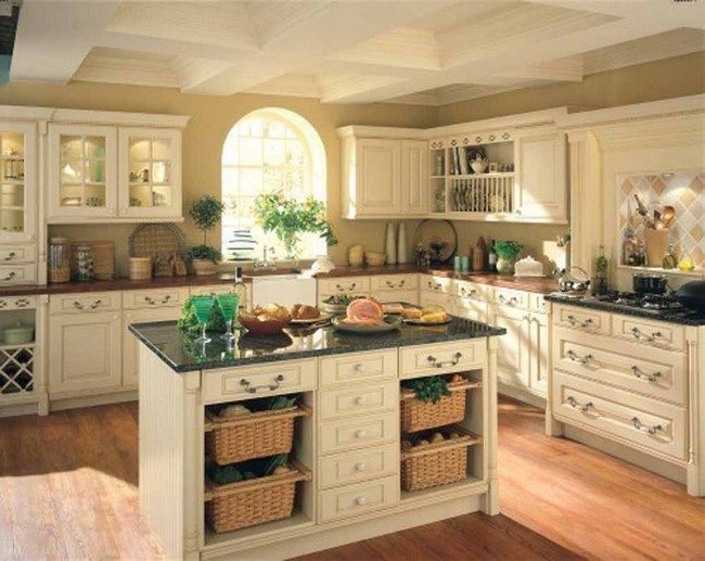 White, medium-sized island with shelves and cabinets