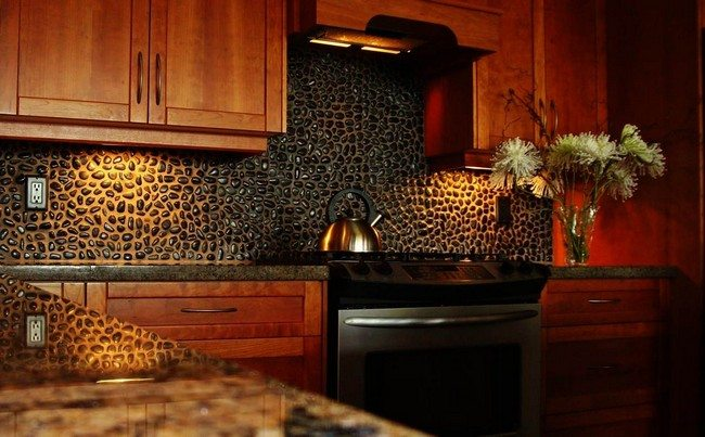 Dark stone backsplash