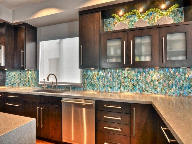Bright blue mosaic backsplash