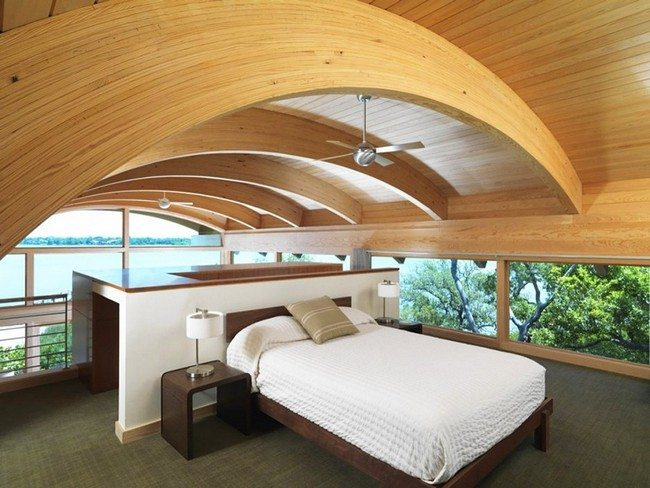 Artistic ceiling with curved wooden beams