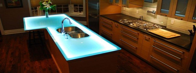 Glass countertop with blue LED illumination