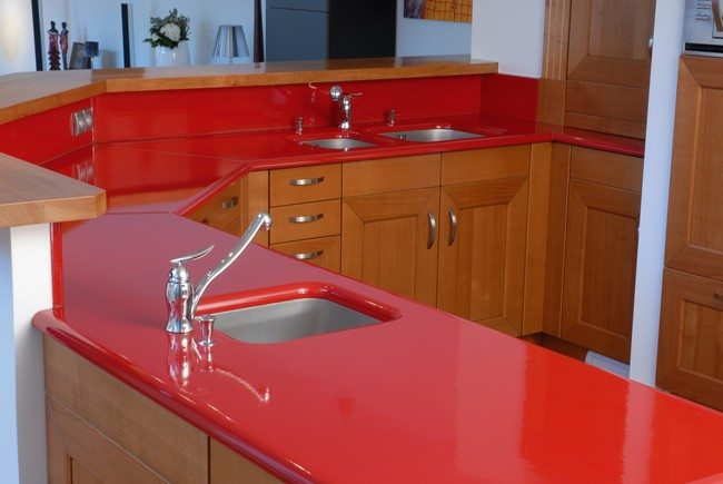 Bright red countertop