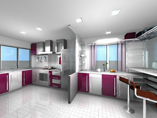 Contemporary Kitchen With Maroon And Red Color Theme