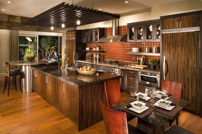 Large, Rectangular Wooden Island With Cabinets With Metal Handles