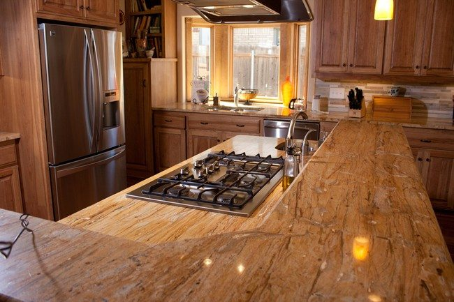 Wooden Countertop On Split Level Island