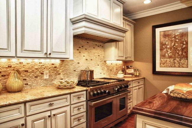 White Stone Tile Kitchen