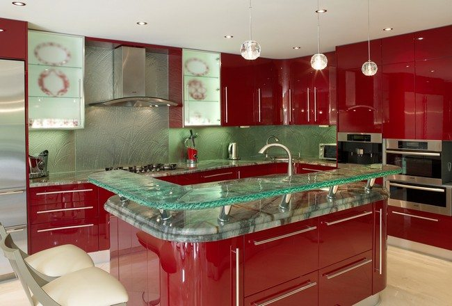 Glass countertop on top of stone countertop