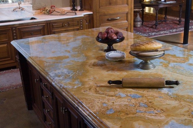 Stone countertop with artistic patterns