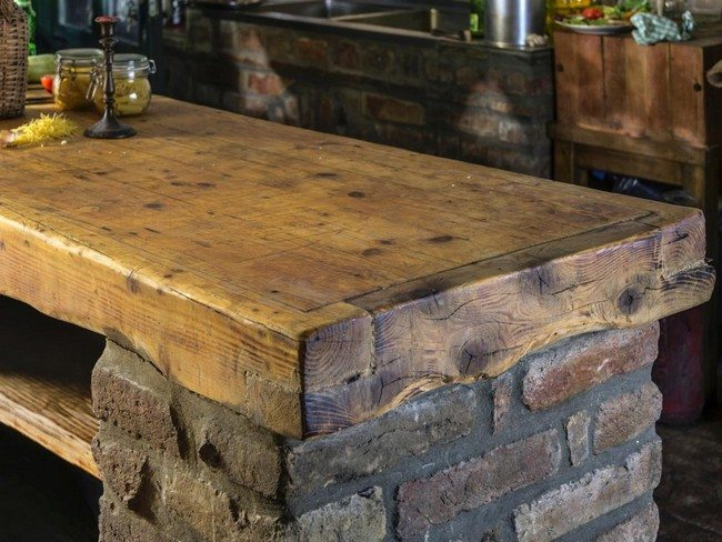 Unique Kitchen Countertop Ideas Part - 29: Kitchen Countertop Made Out Of Salvaged Wood