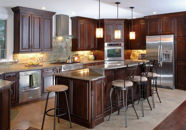 Kitchen island design matching the design of the cabinets