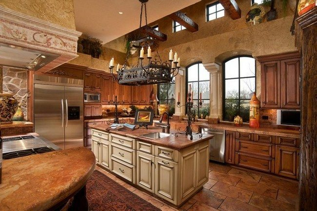 Large island with drawers and cabinets and stone top