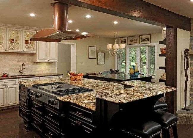 Contemporary Large, dark, majestic island with cooking stovekitchen design