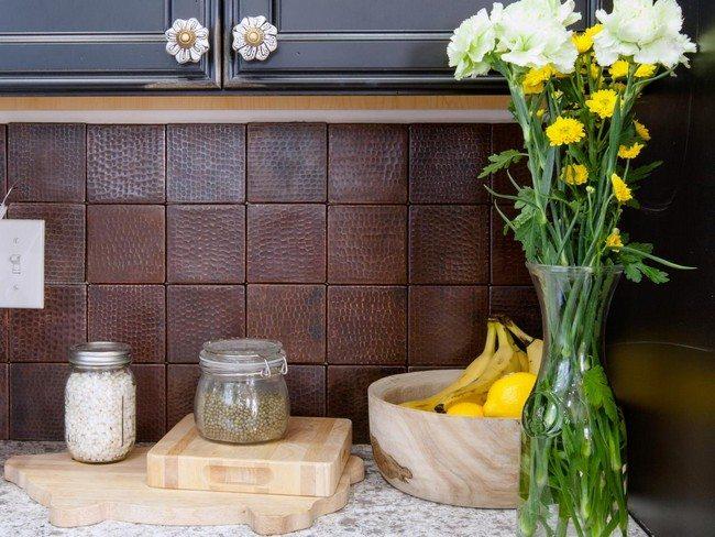 Brown faux tile backsplash