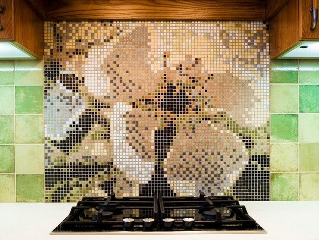 Intricate mosaic backsplash in different colors