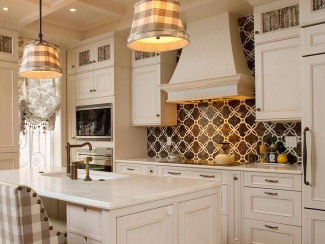 Brown Wallpaper Backsplash With White Circular Patterns