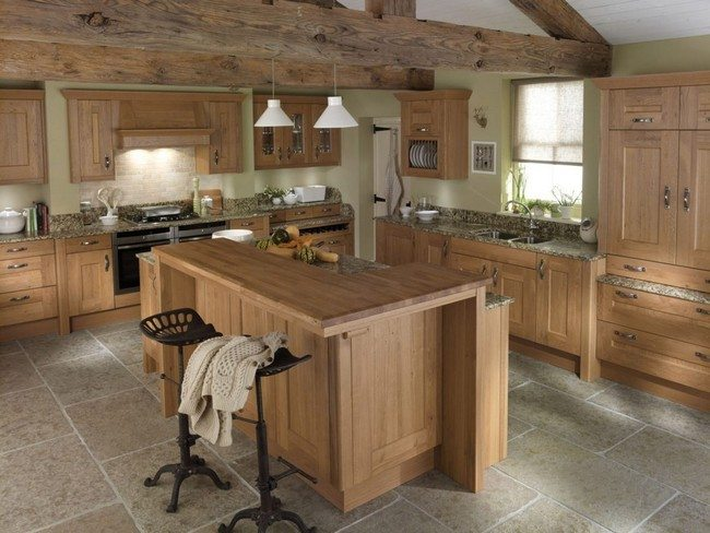 Light hardwood island