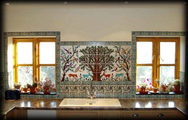 Painting made on the tile backsplash