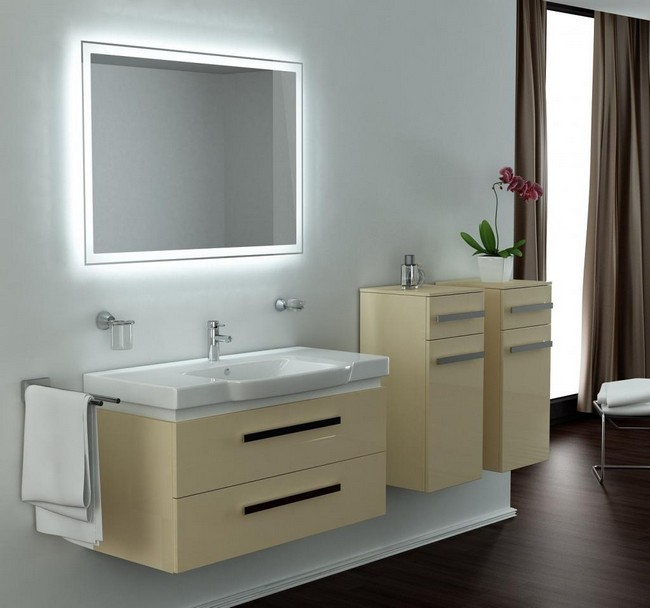 Bathroom mirror frame with white LED lighting