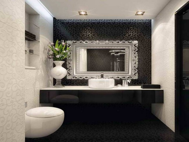 Rectangular bathroom mirror with illuminating in-ceiling lighting