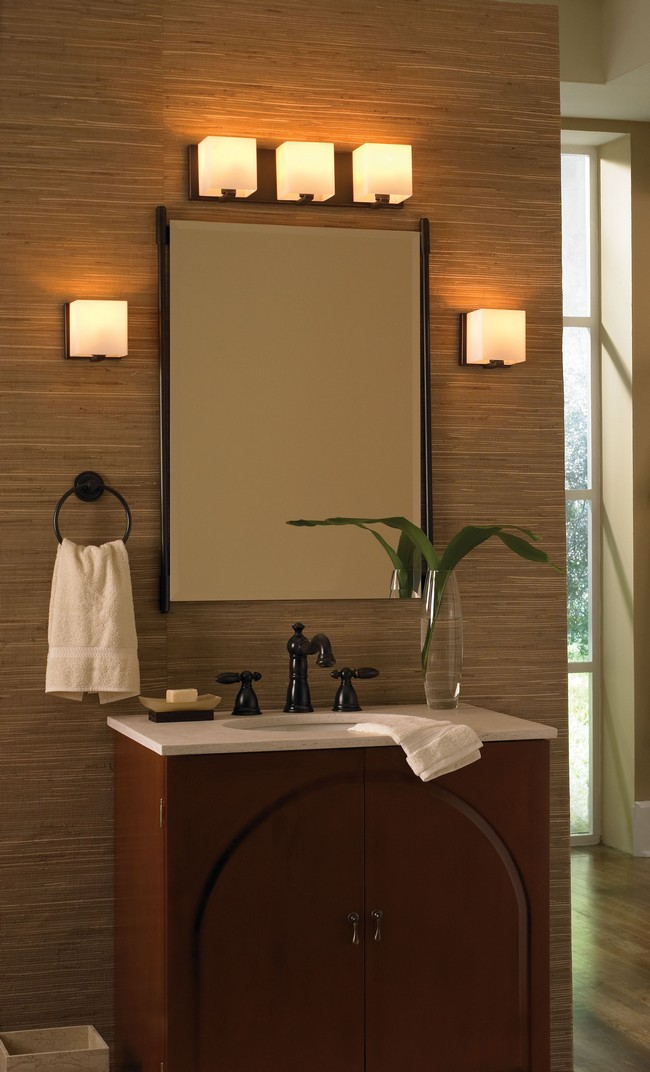 Sleek, soft contemporary bathroom mirror lighting