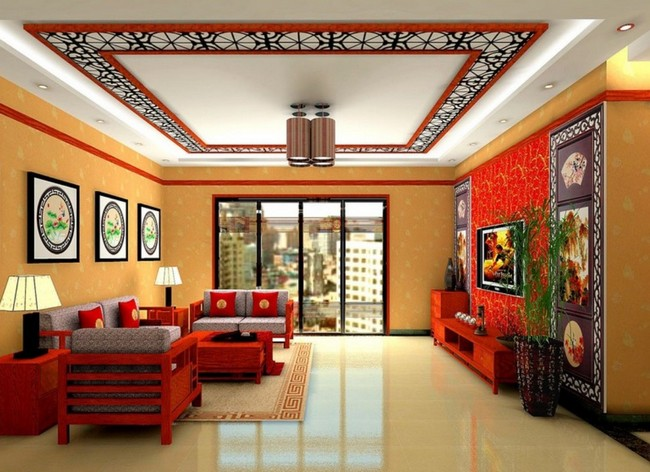 Asian Style Living Room With Open Concept. Neutral Color Theme. Ahint Of  Bright Colors
