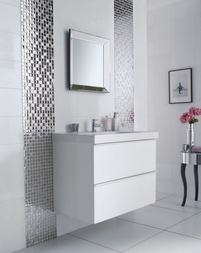 small square mirror with metal frame placed between two sections of metallic tile - Mirror Tile Bathroom Decor