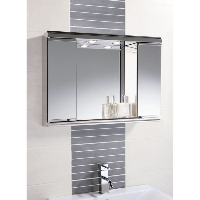 Bathroom cabinet mirror with lighting on the interior
