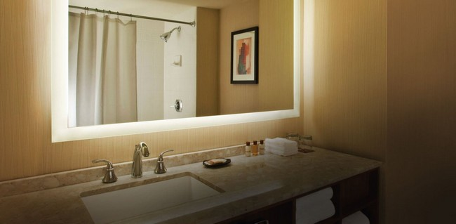 Large mirror with white LED frame