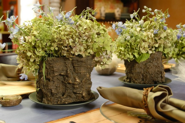 Flower vase made from the bark of a tree