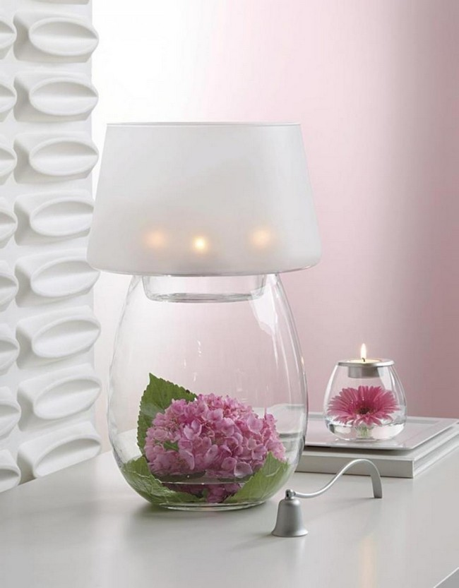 Glass vase combined with lampshade