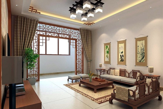 Asian Inspired Living Room With Screen