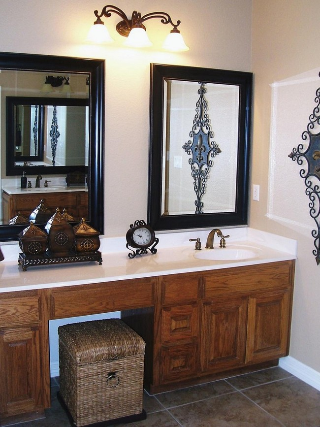 Good Twin Mirrors In Black Frame With Overhead Lighting