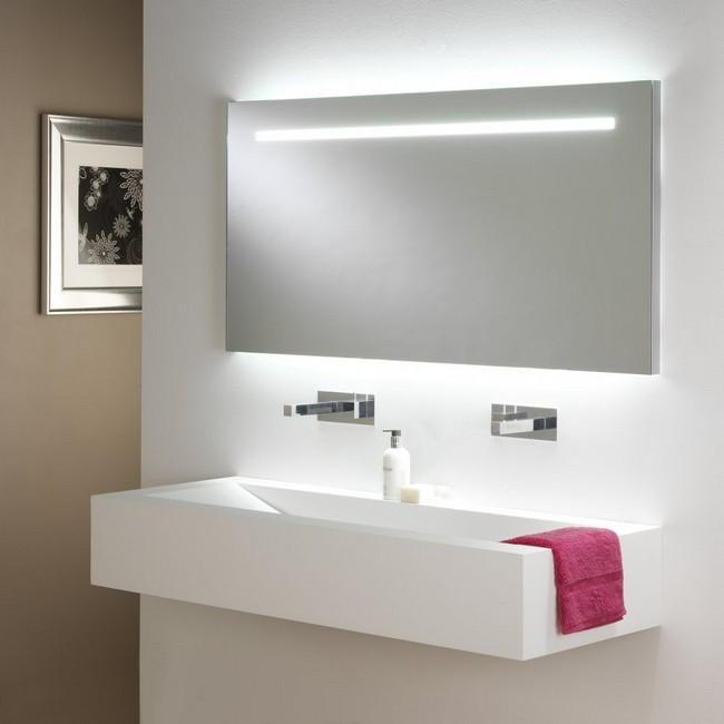 Dim LED lighting integrated inside the mirror